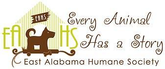 East Alabama Humane Society (Phenix City, Alabama) logo of dog, house and text 'Every Animal Has a Story'