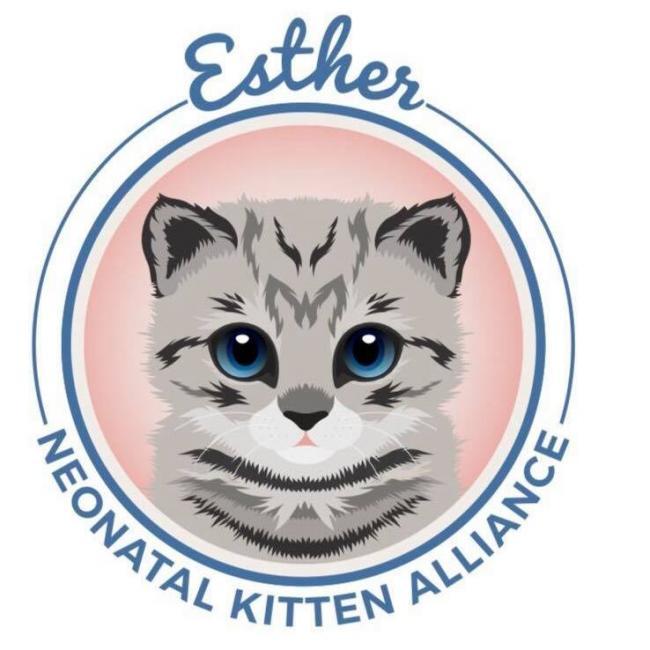 Esther Neonatal Kitten Alliance (Asheville, North Carolina) logo kitten face in circle