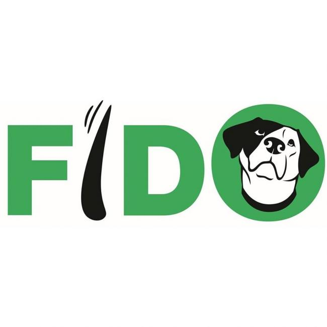 FIDO, Inc (Indianapolis, Indiana) logo dog tail and head in text