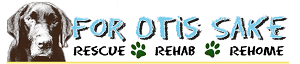 For Otis Sake Rescue (Hagerstown, Maryland) logo with dog and 'Rescue, Rehab, Rehome' tagline