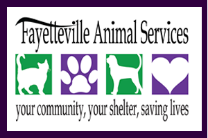 Fayetteville Animal Services (Fayetteville, Arkansas) logo with cat, paw print, dog, heart and tagline