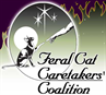 Feral Cat Caretakers' Coalition (Los Angeles, California) logo of cat and human hand/arm in circle