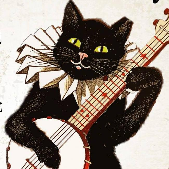 Feral Feline Friends of East Tennessee (Knoxville, Tennessee) logo cat playing banjo