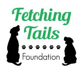 Fetching Tails Foundation (Elk Grove Village, Illinois) logo is green and black with two black dogs and a line of pawprints