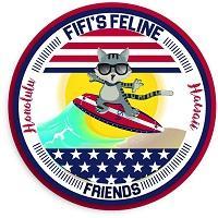 FiFi's Feline Friends (Honolulu, Hawaii) logo of cat on surfboard