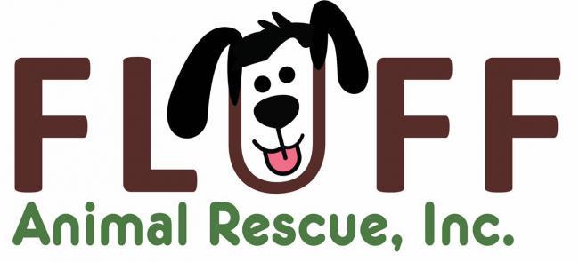 Fluff Animal Rescue Inc (Seminole, Florida) logo dog head in text