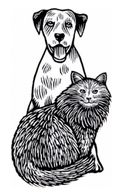 For Pets' Sake (Cortez, Colorado) logo with black & white drawing of dog and cat