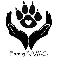 Forney Pet Advocacy & Welfare Society (Forney Texas) logo with black hands surrounding a black paw print with white heart in pad