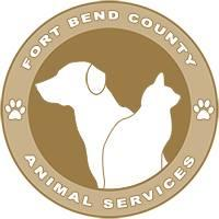 Fort Bend County Animal Services (Rosenberg, Texas) logo of white cat and dog in brown circle