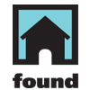 """Found Chicago (Chicago, Illinois) logo is a black house in a box with a blue background and the word """"found"""" underneath"""