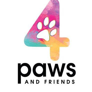 Four Paws and Friends (Laveen, Arizona) logo is pastel colored 4 with paw print in the middle over organization name