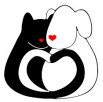Furry Friends Adoption & Clinic (Jupiter, Florida) logo black cat & white dog cuddled together with their tails forming a heart
