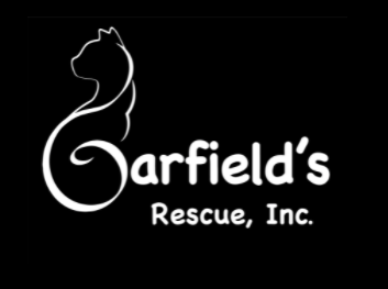 Garfield's Rescue, Inc.,(Weems, Virginia) logo cat silhouette with white outline on black background with white text