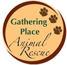 Gathering Place Animal Rescue (Clarks Summit, Pennsylvania) logo has the name and three pawprints inside a circle