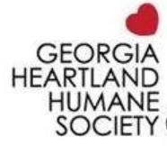 Georgia Heartland Humane Society (Newnan, Georgia) logo text with red heart above