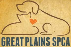 Great Plains SPCA (Merriam, Kansas) logo of outline of dog & cat with red heart