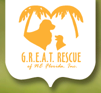 G.R.E.A.T. of NE Florida (Jacksonville, Florida) logo in yellow, their name with 2 dogs & 2 palm trees in the shape of a heart