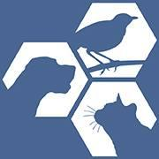 Gwinnett County Animal Welfare (Lawrenceville, Georgia) logo: blue background with white hexagons with bird, dog and cat