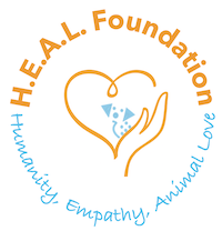 H.E.A.L Founcation, Inc. logo depicting a hand and heart with a dog in the center