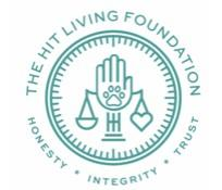HIT Living Foundation (Toluca Lake, California) logo with hand pawprint and scale in circle