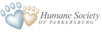 Humane Society of Parkersburg (Parkersburg, West Virginia) logo is two pawprints shaped like hearts next to the org name