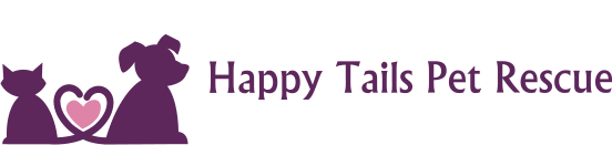 Happy Tails Pet Rescue (Hudson, New Hampshire) logo with purple silhouette of cat & dog with tails meeting to form pink heart