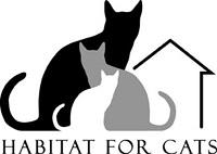Habitat for Cats (Webster, New York) logo is a black, grey and white cat next to an outline of a house