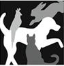 Harbor Humane Society (West Olive, Michigan) logo with black, white, gray silhouettes of dog, cat, bird, rabbit
