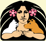 Hawaii Island Animal Society (Kailua-Kona, Hawaii) logo has a woman with flowers in her hair and her arms around a dog and a cat