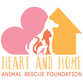 Heart & Home Animal Rescue Foundation (Covina, California) logo has a bird, rabbit, cat and dog in the middle of a heart & house