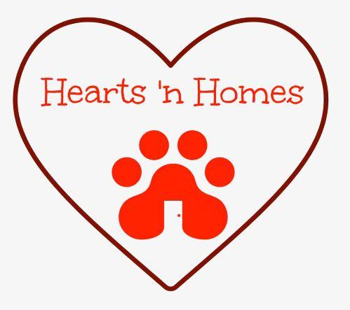 Hearts 'n Homes Rescue Inc., (Sharpsburg, Georgia) logo red heart outline with red paw print and text