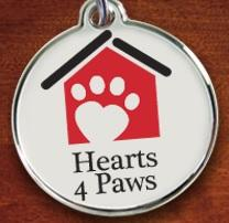 Hearts 4 Paws (West Valley City, Utah) logo is a white dog tag, a red house with a white paw print with a heart in the print