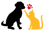 Homeward Bound, Addison County's Humane Society (Middlebury, Vermont) logo is a black dog and yellow cat with a heart shaped paw