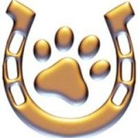 Hooves & Paws Animal Rescue (Littlerock, California) logo is a gold horseshoe with a pawprint in the middle