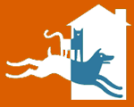 Hopalong Animal Rescue (Oakland, California) logo has a cat standing on a dog who's running into a house