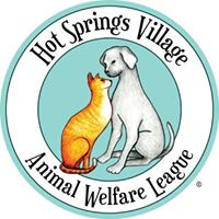 Hot Springs Village Animal Welfare League (Hot Springs Village, Arkansas) logo is a teal blue circle with a cat & dog in center.