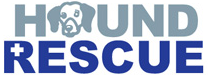 """Hound Rescue (Austin, Texas) logo is grey and blue. The """"O"""" in """"Hound"""" is the face of a beagle."""