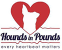 Hounds in Pounds (Allendale, New Jersey) logo is red and black with a red heart and a dog profile in heart