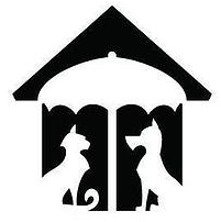 Humane Society of Northern Utah (Ogden, Utah) logo is a house with a dog and cat under an umbrella inside