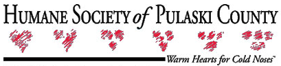 """Humane Society of Pulaski County (Little Rock, Arkansas) logo has red scribbled hearts and """"warm hearts for cold noses"""" tagline"""