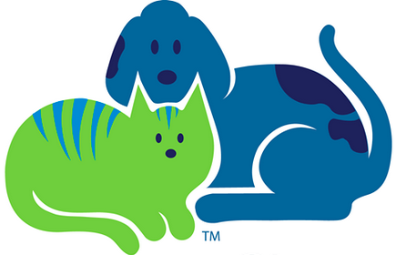 Humane Society of the Tennessee Valley (Knoxville, Tennessee) logo has a blue dog lying down behind a green cat