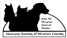 """Humane Society of Warren County (Front Royal, Virginia) logo silhouettes: horse, dog & cat, &"""" Julia W. Wagner Animal Shelter"""""""