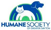 Humane Society of Greater Dayton, Ohio, logo is blue, green and white with a dog & cat rainbow