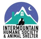 Intermountain Humane Society (Pine, Colorado) logo cat and dog next to house in mountain with moon