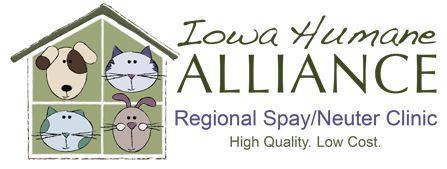 Iowa Humane Alliance (Cedar Rapids, Iowa) logo of dogs, cats and rabbit in house