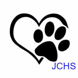 Jackson County Humane Society (Maquoketa, Iowa) logo black heart outline with black paw print over the heart