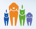 Jacksonville Humane Society (Jacksonville, Florida) logo of caricatures of dogs & cats done in blue, green purple & orange