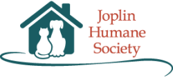 Joplin Humane Society (Joplin, Missouri) logo is a dog and cat sitting in front of a house next to the organization name