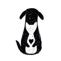 K9Kare (Alvin, Texas) logo is a black dog hugging a white cat with a black heart