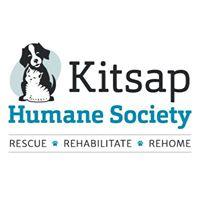 Kitsap Humane Society (Silverdale, Washington) logo of dog, cat, blue circle and Kitsap Humane Society text